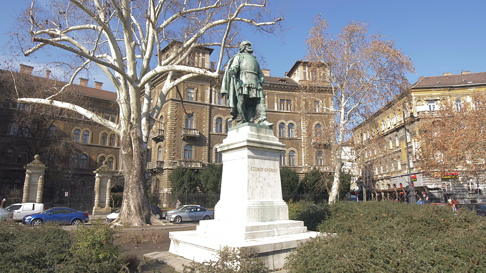 Szondi George statue on Andrassy during winter, UNESCO World Heritage Site, Budapest, Hungary, Europe