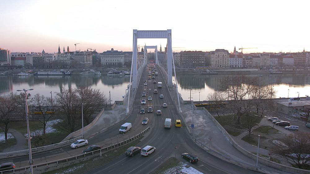 View of Elizabeth Bridge and River Danube at sunrise, Budapest, Hungary, Europe - 844-16366