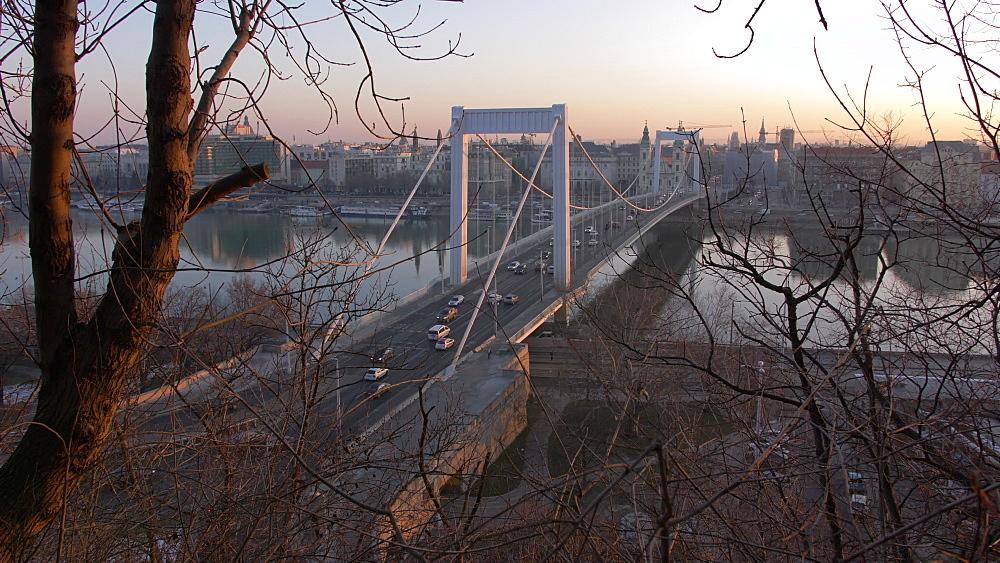 View of Elizabeth Bridge and River Danube at sunrise, Budapest, Hungary, Europe - 844-16367