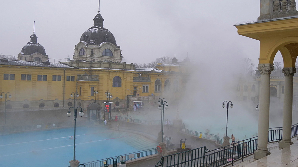 Szechenyi Thermal Baths interior during winter, Budapest, Hungary, Europe