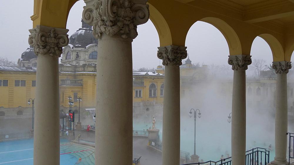 Szechenyi Thermal Baths interior during winter, Budapest, Hungary, Europe