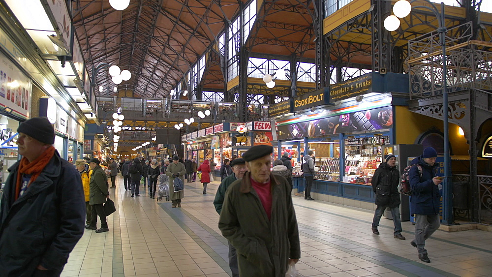 Interior view of Central Market Hall, Budapest, Hungary, Europe