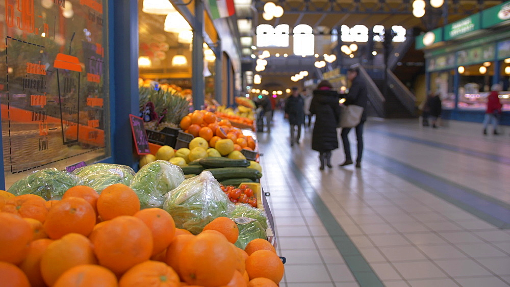 Interior view of produce stalls in Central Market Hall, Budapest, Hungary, Europe - 844-16385