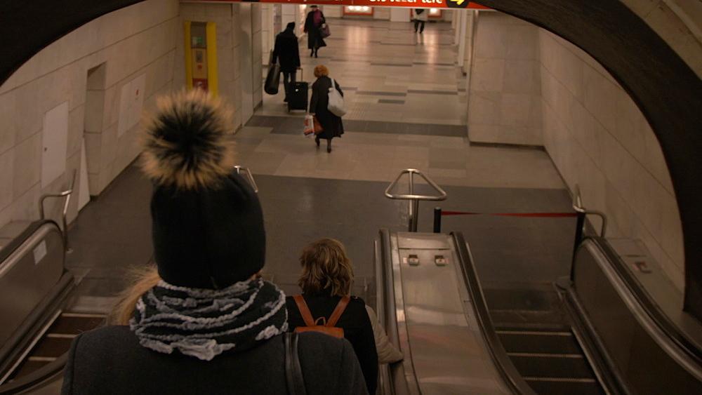 Riding on escalator on Metro, Budapest, Hungary, Europe
