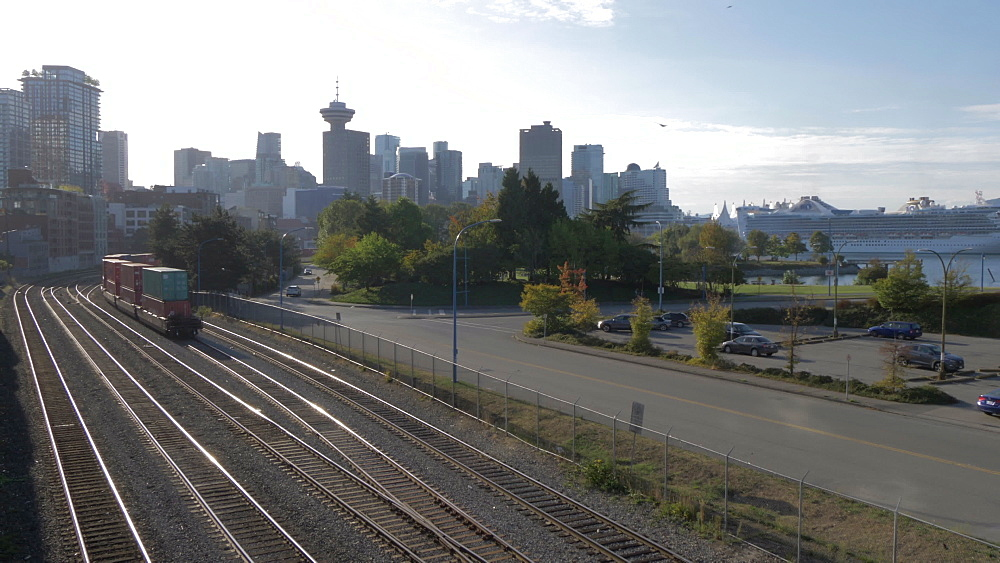 View of Downtown skyline and railroad at CRAB Park Bayside, Vancouver, British Columbia, Canada, North America - 844-16391