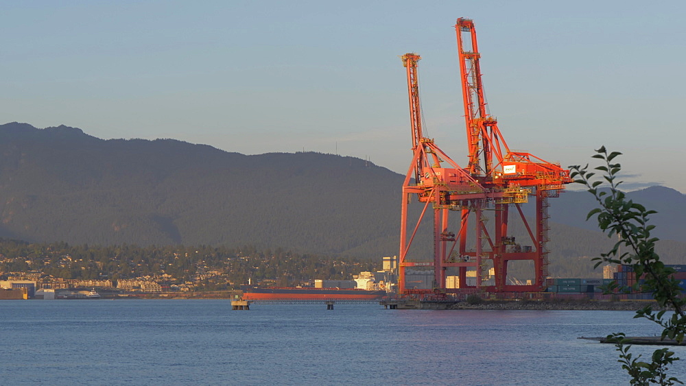 View of helicopter above North Vancouver and dock cranes, Vancouver, British Columbia, Canada, North America