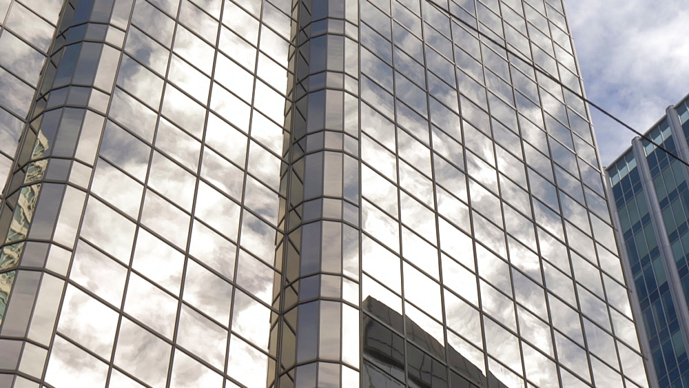 View of reflections in tall urban modern buildings in Downtown, Vancouver, British Columbia, Canada, North America