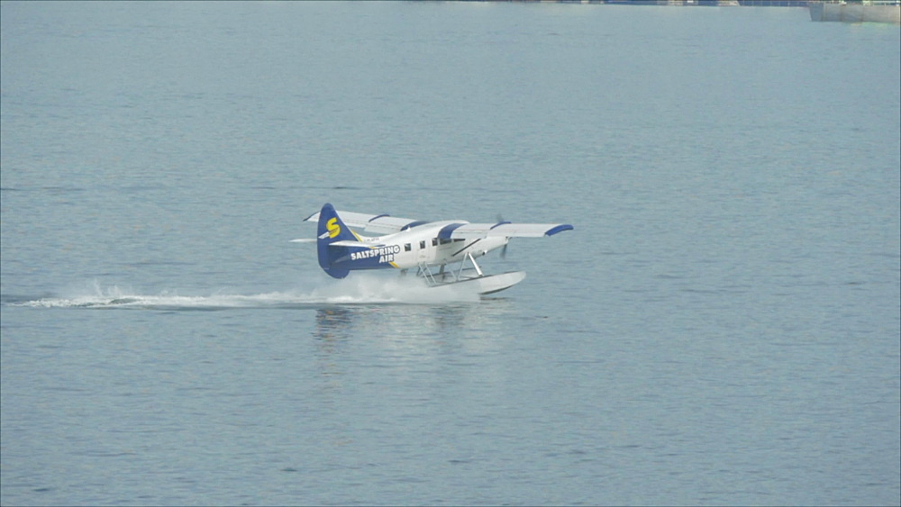 Slow motion view of seaplane landing in Vancouver Harbour from Vancouver Convention Centre, Vancouver, British Columbia, Canada, North America - 844-16414