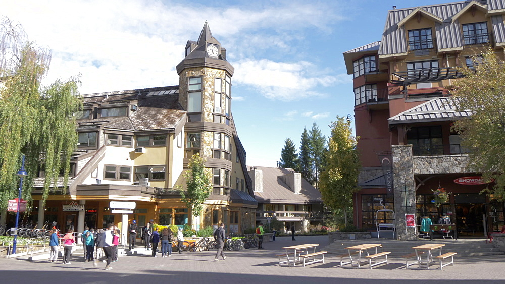 Shops and hotels on main street, Whistler, British Columbia, Canada, North America