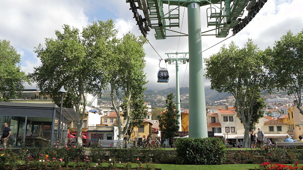 View of cable cars leaving and returning to lower station in Funchal, Madeira, Portugal, Atlantic, Europe