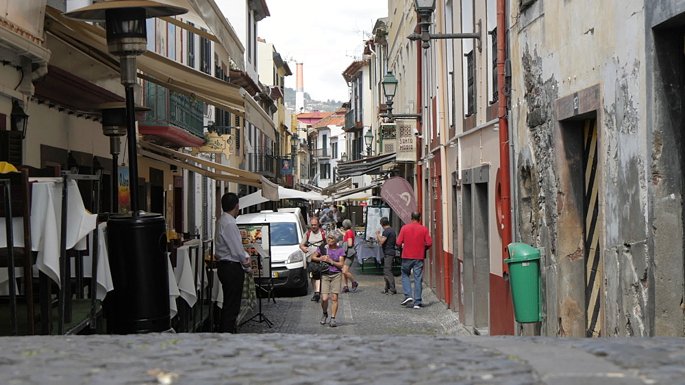 Restaurants in old town cobbled street in Funchal, Madeira, Portugal, Atlantic, Europe