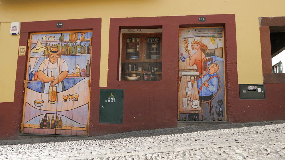 Slider shot view of street art in old town cobbled street in Funchal, Madeira, Portugal, Europe - 844-16436