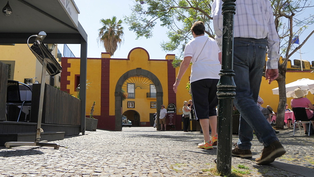 Visitors near entrance of Fortress in Funchal, Madeira, Portugal, Atlantic, Europe
