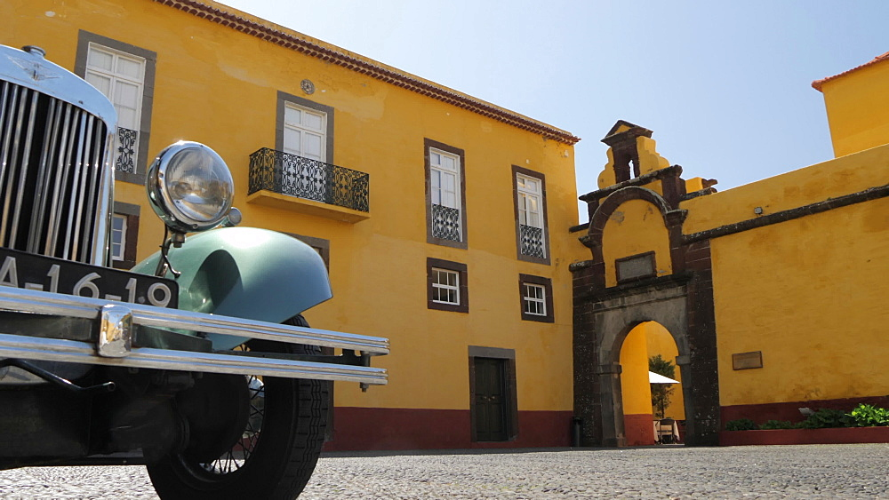 Vintage car near entrance of Fortress in Funchal, Madeira, Portugal, Atlantic, Europe