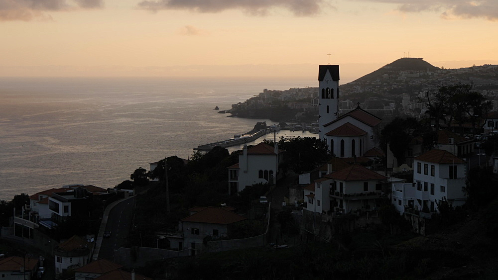 Panoramic view of Funchal and harbour at dusk from above, Madeira, Portugal, Atlantic, Europe