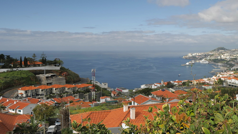 Panoramic view of Funchal and harbour during early morning from above, Funchal, Madeira, Portugal, EAtlantic, Europe