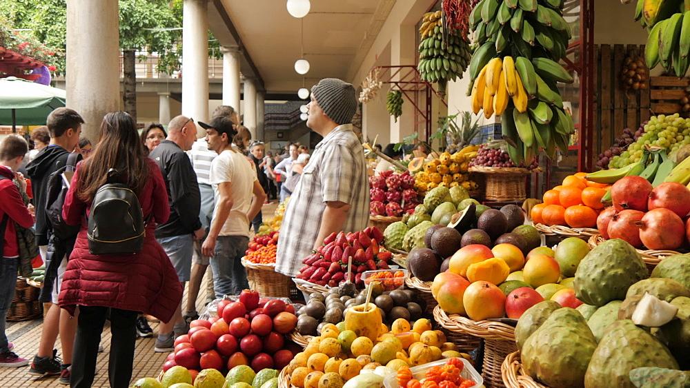 Slider shot of fresh produce in Mercado Dos Lavradores (Farmers Market), Funchal, Madeira, Portugal, Atlantic, Europe