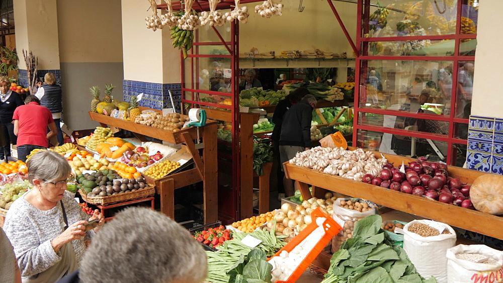 Fresh produce in Mercado Dos Lavradores (Farmers Market), Funchal, Madeira, Portugal, Atlantic, Europe