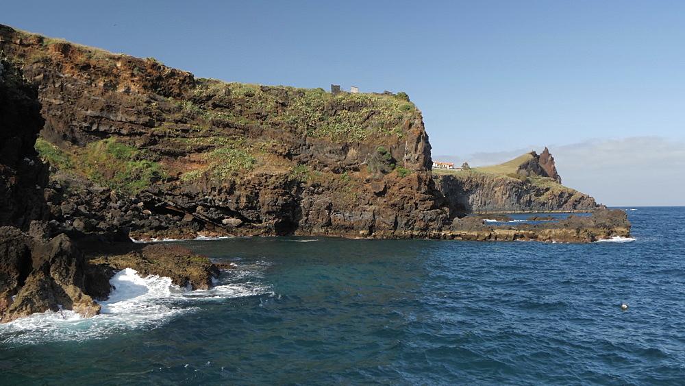 View of rocky coastline near Canico, Madeira, Portugal, Atlantic, Europe
