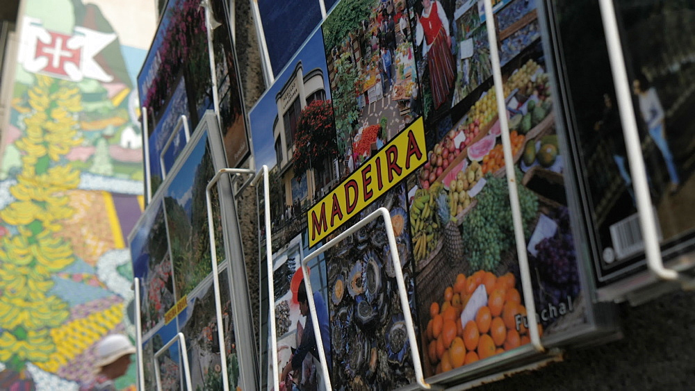 Slider shot view of postcards on promenade in Funchal, Madeira, Portugal, Europe - 844-16468