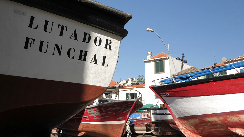 Slider shot among fishing boats in colourful harbour, Camara de Lobos, Madeira, Portugal, Atlantic, Europe - 844-16471