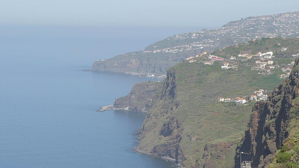 Tilt shot along coastline of Faja dos Padres near Cabo Girao, Madeira, Portugal, Atlantic, Europe