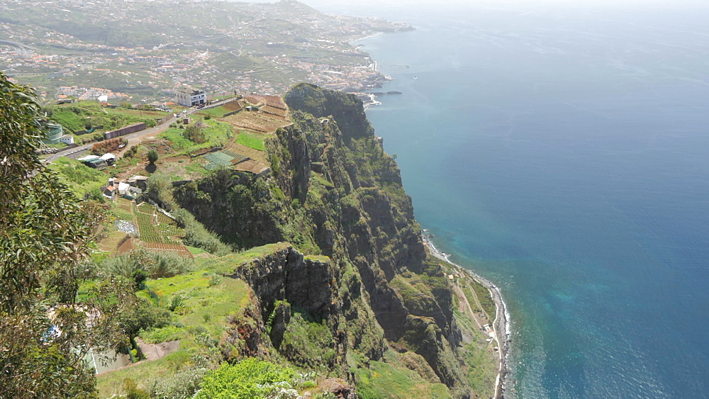 Panoramic view of coastline and Atlantic Ocean from Cabo Girao, Madeira, Portugal, Atlantic, Europe