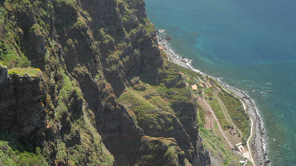 Descending view of coastline and Atlantic Ocean from Cabo Girao, Madeira, Portugal, Atlantic, Europe