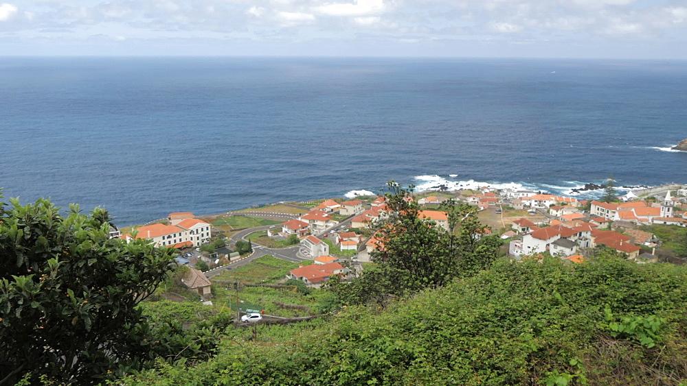 Panoramic shot over town and Atlantic Ocean, Porto Moniz, Madeira, Portugal, Europe - 844-16492