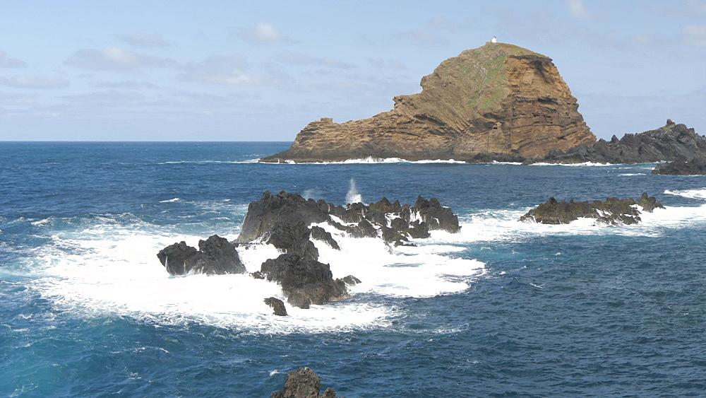 View of rugged coastline and Atlantic Ocean, Porto Moniz, Madeira, Portugal, Europe - 844-16495