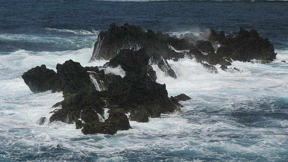View of waves crashing on rocks and Atlantic Ocean, Porto Moniz, Madeira, Portugal, Europe - 844-16496