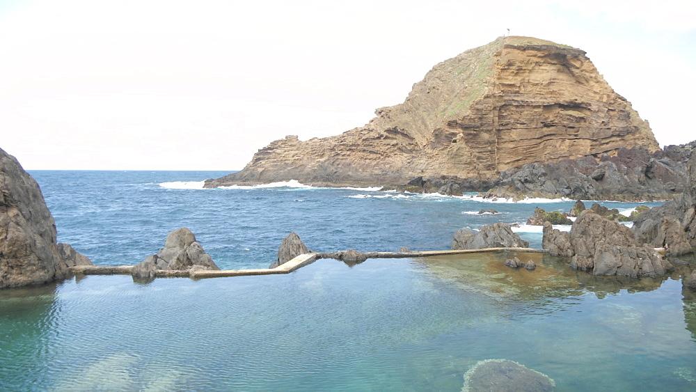 View of rugged coastline and Natural Pools, Porto Moniz, Madeira, Portugal, Atlantic, Europe