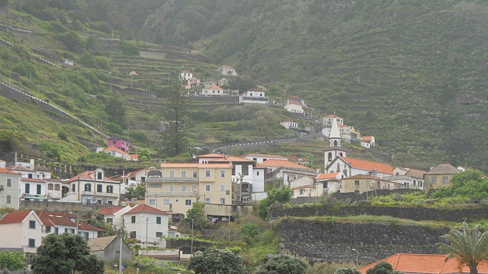 Town houses and church, Porto Moniz, Madeira, Portugal, Atlantic, Europe