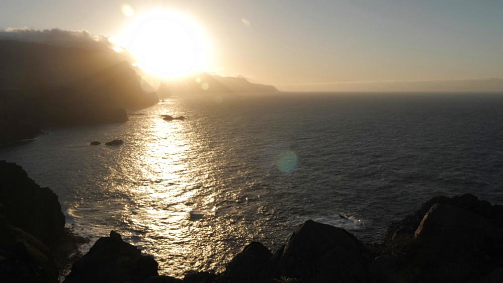 View of rocky coastline at the Ponta da Sao Lourenco at sunset, Eastern tip of the island, Madeira, Portugal, Atlantic, Europe