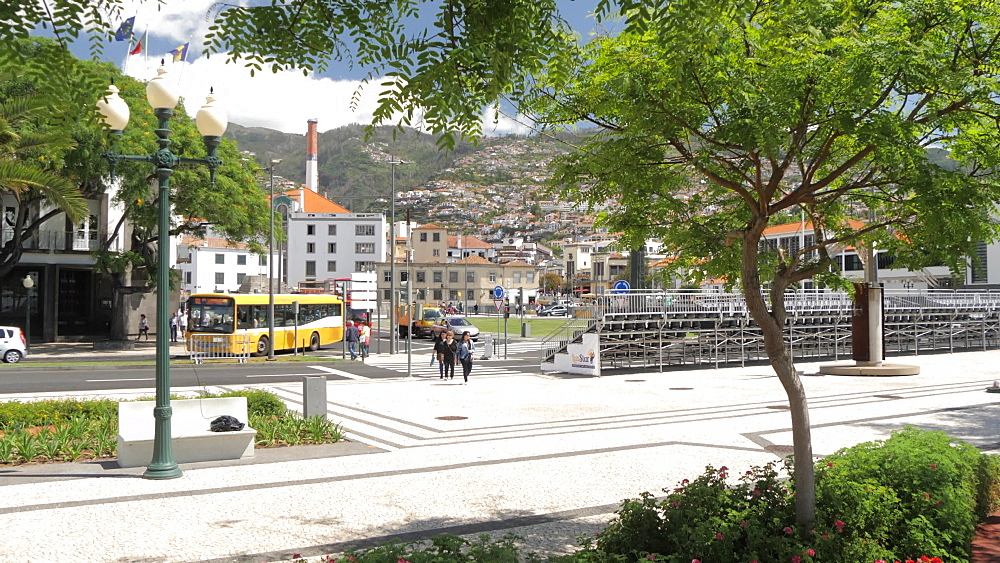 Seafront gardens and town in Funchal, Madeira, Portugal, Atlantic, Europe