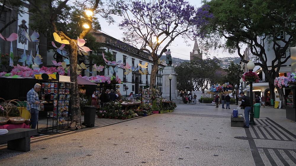 Flower festival stalls on Avenue Arriaga at dusk, Funchal, Madeira, Portugal, Atlantic, Europe