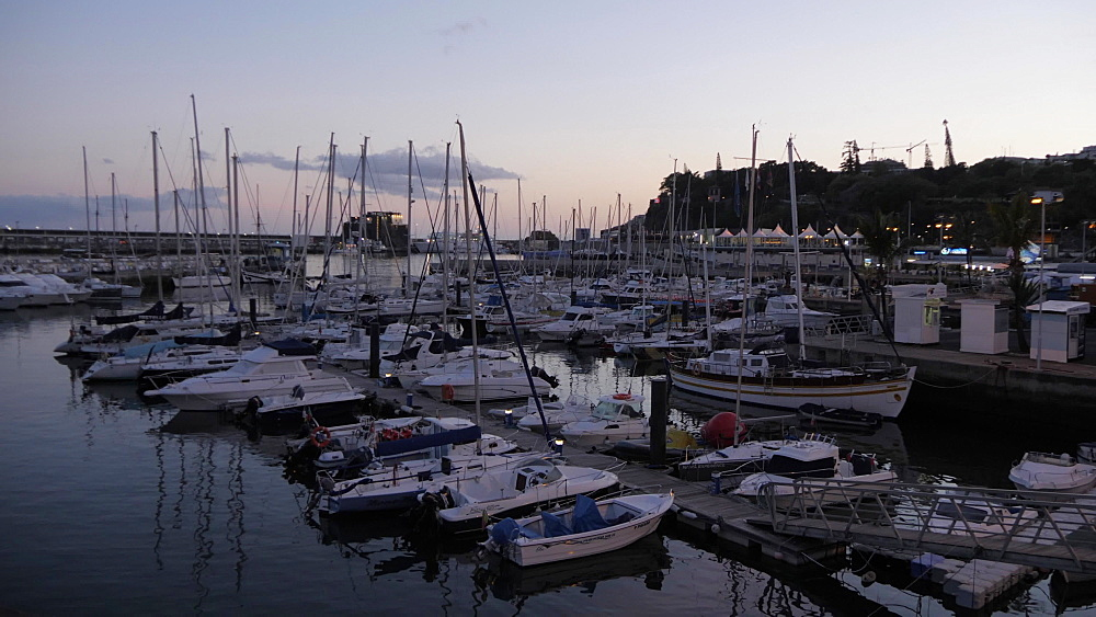 Harbour and town at dusk, Funchal, Madeira, Portugal, Atlantic, Europe