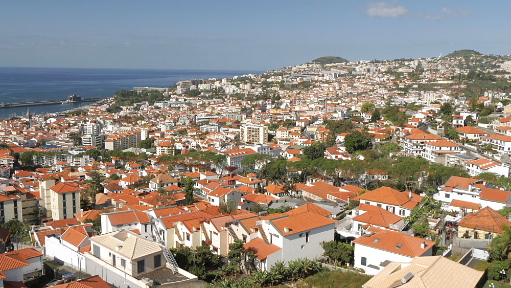 Roaming shot from cable car above town, Funchal, Madeira, Portugal, Europe - 844-16542
