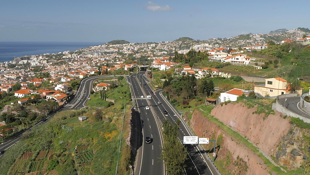 Roaming shot from cable car above town, Funchal, Madeira, Portugal, Atlantic, Europe