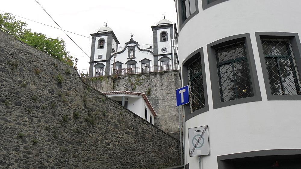 Slider shot of Monte Church, Funchal, Madeira, Portugal, Atlantic, Europe