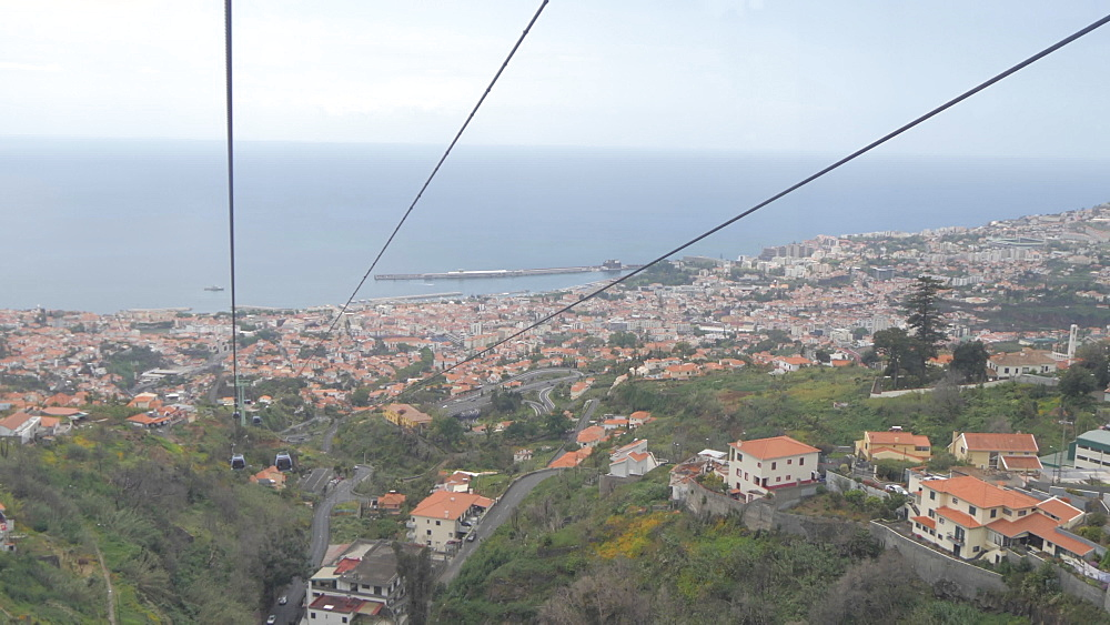Roaming shot from cable car above town, Funchal, Madeira, Portugal, Atlantic, Europe - 844-16561