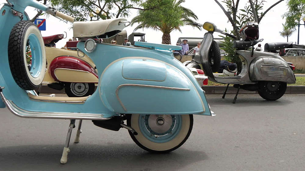 Roaming shot of vintage mopeds at spring festival, Funchal, Madeira, Portugal, Europe - 844-16568