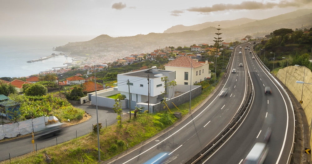 View of traffic on VR1 road at Funchal, Funchal, Madeira, Portugal, Atlantic, Europe - 844-16576