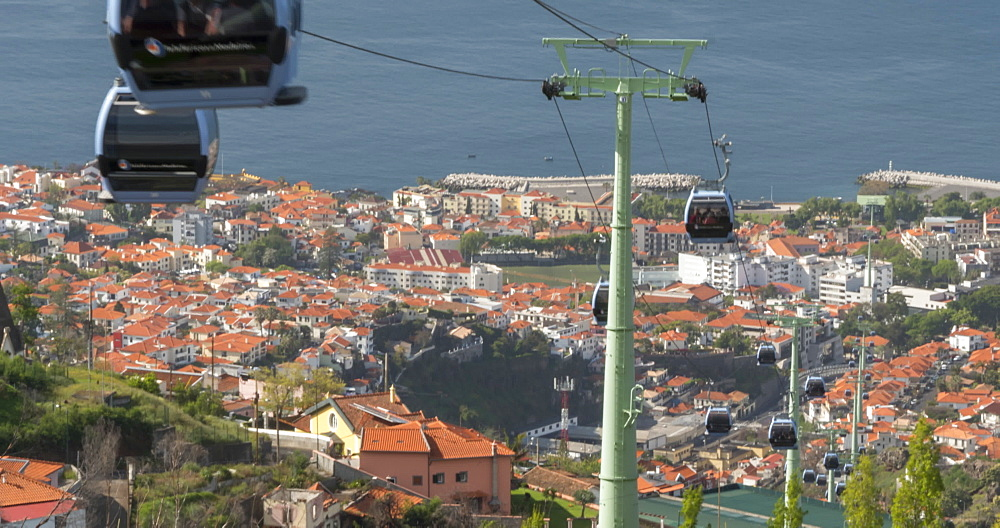 View of cable cars arriving and departing top station, Funchal, Madeira, Portugal, Atlantic, Europe