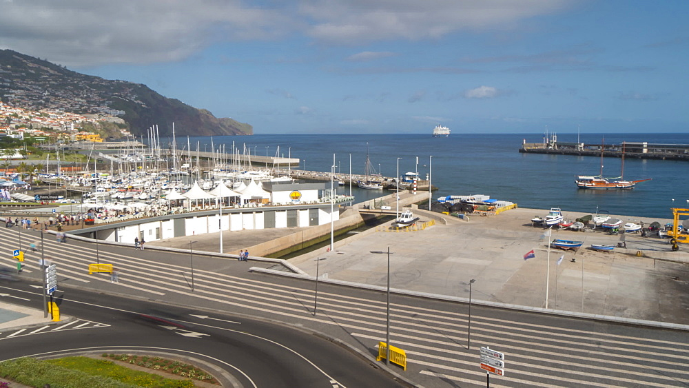 View of cruise ship leaving port to Atlantic Ocean, Funchal, Madeira, Portugal, Europe