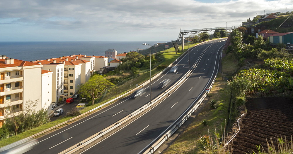 View of traffic on VR1 road at Canico, Funchal, Madeira, Portugal, Atlantic, Europe