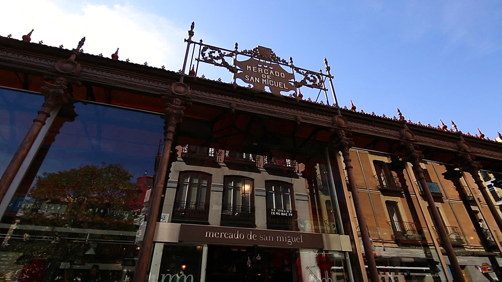Exterior sign of Mercado San Miguel, Madrid, Spain, Europe