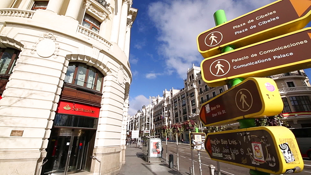 Signs, lights and architecture on Calle Gran Via, Madrid, Spain, Europe