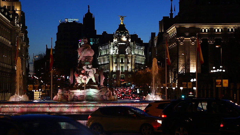 View of Cibeles Fountain at night, Madrid, Spain, Europe