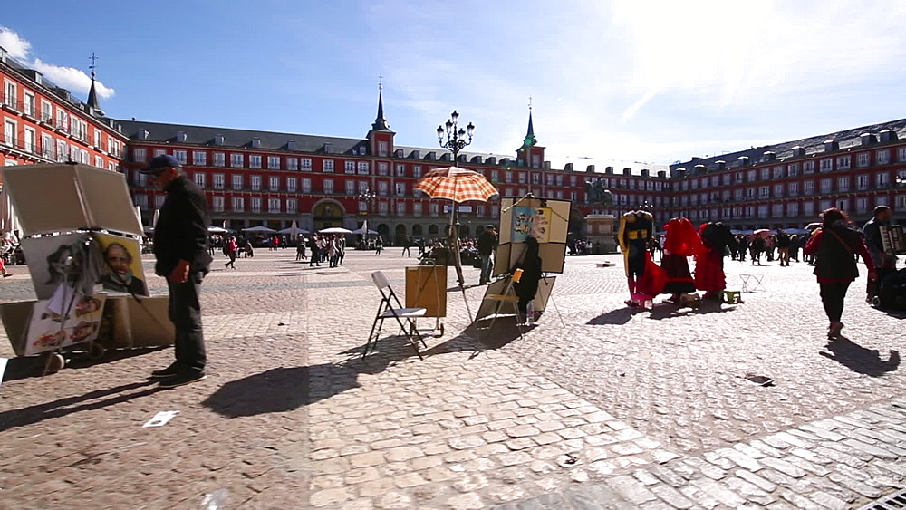 Activities in Plaza Mayor, Madrid, Spain, Europe
